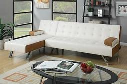 Poundex F7887 White Faux Leather Brown Trim Sectional Sofa B
