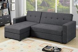Poundex F7896 Grey Fabric Storage Sectional Sofa Bed