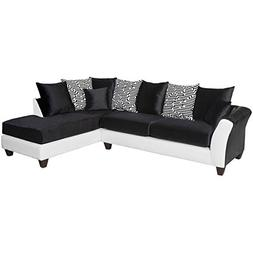 Pemberly Row Faux Leather Right Facing Sectional in Black an
