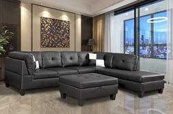 Faux Leather Sectional Sofa Nail Head Trim Black/Espresso |