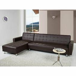 Gold Sparrow Frankfort Convertible Sectional Sofa Bed, Dark