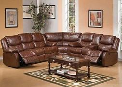 Acme Fullerton Brown Bonded Leather Power Motion Sofa Furnit