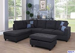 Lifestyle Furniture Right Facing 3PC Sectional Sofa Set,Blac