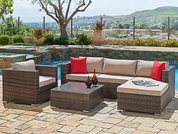 SUNCROWN Outdoor Furniture Sectional Sofa & Chair  All-Weath