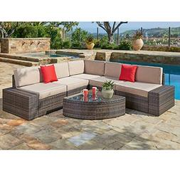 SUNCROWN Outdoor Sectional Sofa & Wedge Table 6-Piece Brown