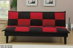 futon sofa bed couch convertible black red
