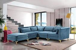 Iconic Home Girardi Modular Chaise Sectional Sofa Velvet Uph