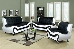 Golden Coast Furniture Classic 3 PC Black and White Leather