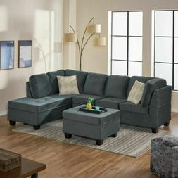 Gotham 3-piece Charcoal Fabric Sectional Sofa Set
