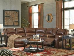 GRAHAM Modern Sectional Living Room Couch Set BROWN Leather