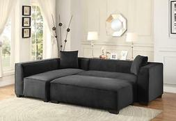 Graphite Fabric Sectional Sofa Set 3Pcs Contemporary Homeleg