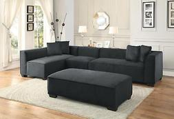 Graphite Fabric Sectional Sofa Set 4Pcs Contemporary Homeleg