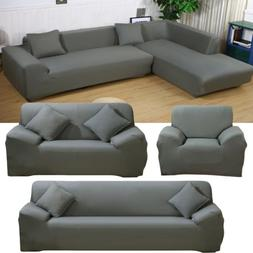Gray 1 2 3 4 Seater L Shape Sectional Corner Sofa Cover Couc