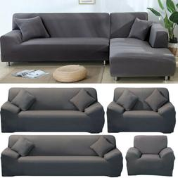 Gray Sofa Cover for 1 2 3 4 Seat L-shape Sectional Corner Co