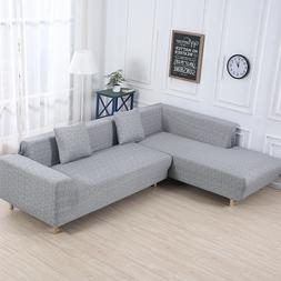 Gray Stretch 3-Seater Sofa Covers, L-Shape Sectional Sofa Co