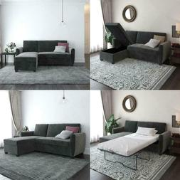 Gray Velvet Storage Sleeper Sectional Sofa Twin Pull-Out Bed