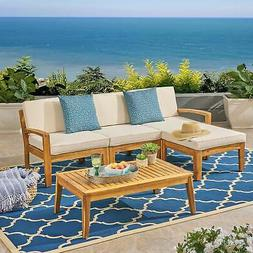 Grenada Outdoor 3-Seater Acacia Wood Frame Sectional Sofa