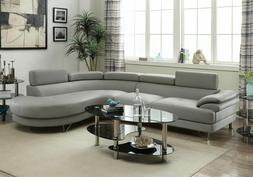 Grey Faux Leather Curved Sectional Sofa Couch Round Chaise w