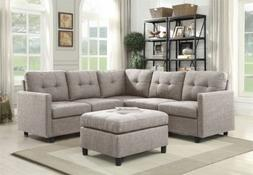 Grey Linen L-Shape Reversible Chaise Sectional Modern Sofa S