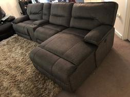 Grey Power Reclining Sectional Sofa with Left Facing Chaise,
