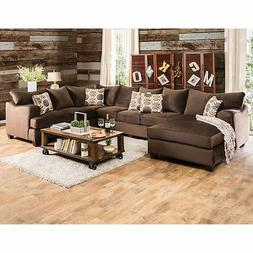 Furniture of America Hamilton Sectional Sofa with Chaise, Ch