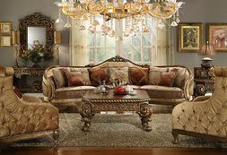 Hand Carved Tufted Upholstered Sectional Sofa Set--Sectional