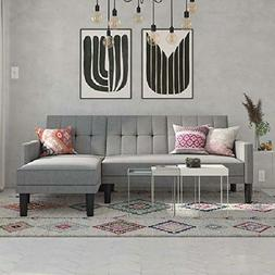 DHP Haven Small Space Sectional Sofa Futon in Light Grey Lin