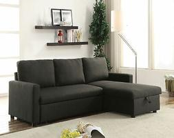 ACME Hiltons Charcoal Linen Sectional Sofa with Sleeper and