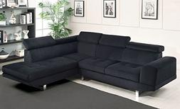Holt Black Bella Fabric RAF Sectional Sofa by Furniture of A