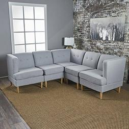 Home 5PC Corner Sofa Set Mid Century Modern  Tufted Sectiona