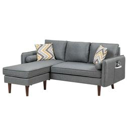 Lilola Home Mia Gray Sectional Sofa Chaise+USB Charger & Pil