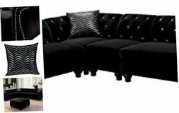 HOMES: Inside + Out Michelle Traditional Sectional Sofa, Bla