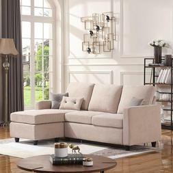 HONBAY Convertible Sectional Sofa Couch, L-Shaped Couch with