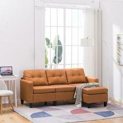 Hot Sectional Sofa Set PU Leather L-shaped Chaise Couch Livi
