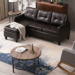 Hot Sectional Sofa Set PU Leather L-shaped Chaise Couch for