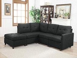 INFINI FURNISHINGS IND6012-5 5-Piece Modular Sectional Sofa,