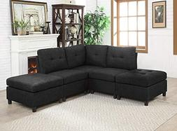 INFINI FURNISHINGS IND6012-6 5-Piece Modular Sectional Sofa,