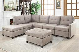 INFINI FURNISHINGS IND6013-4 7-Piece Modular Sectional Sofa,