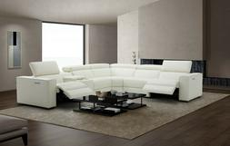 J&M Furniture Picasso White Top Grain Leather Motion Section