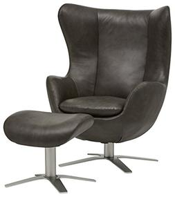Rivet Jackson Leather Swivel Chair and Ottoman,