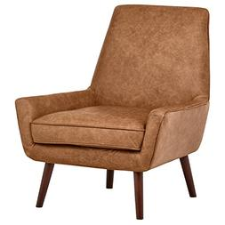 "Rivet Jamie Mid-Century Leather Low Arm Accent Chair, 31""W,"
