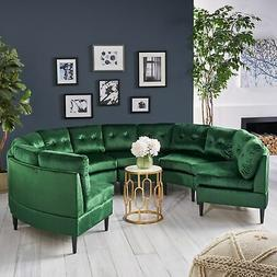 Jazmine Glam 6-Seat Modular Velvet Sectional Sofa by Navy Bl