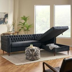 Jephthah Contemporary Tufted Velvet Sectional Sofa with Stor