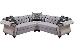 Jolanda II Gray Flannelette Sectional Sofa by Furniture of A