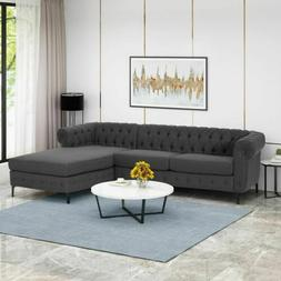Juelz Contemporary Fabric 3 Seater Sectional Sofa with Chais