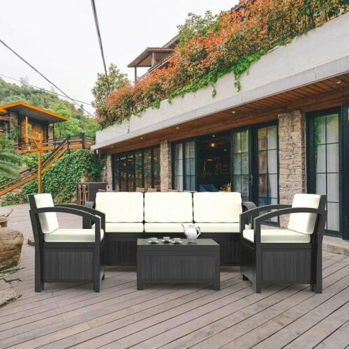Rattan Sofa 2/5/6PC Sectional Couch Furniture Patio