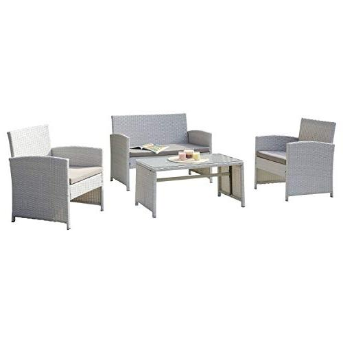 DG Casa 10150-4SET-GRY 4 Piece Patio with Table and in Steel