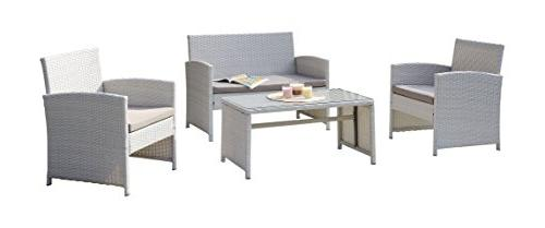 DG Casa 10150-4SET-GRY Clifton 4 Patio Deck with Loveseat and Seat in Rattan and Steel