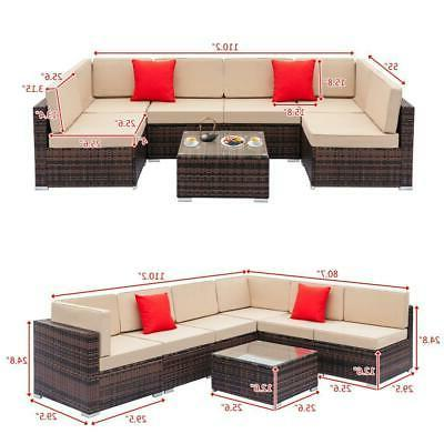 11PC Outdoor Sectional Patio Sofa Set Brown Cushion