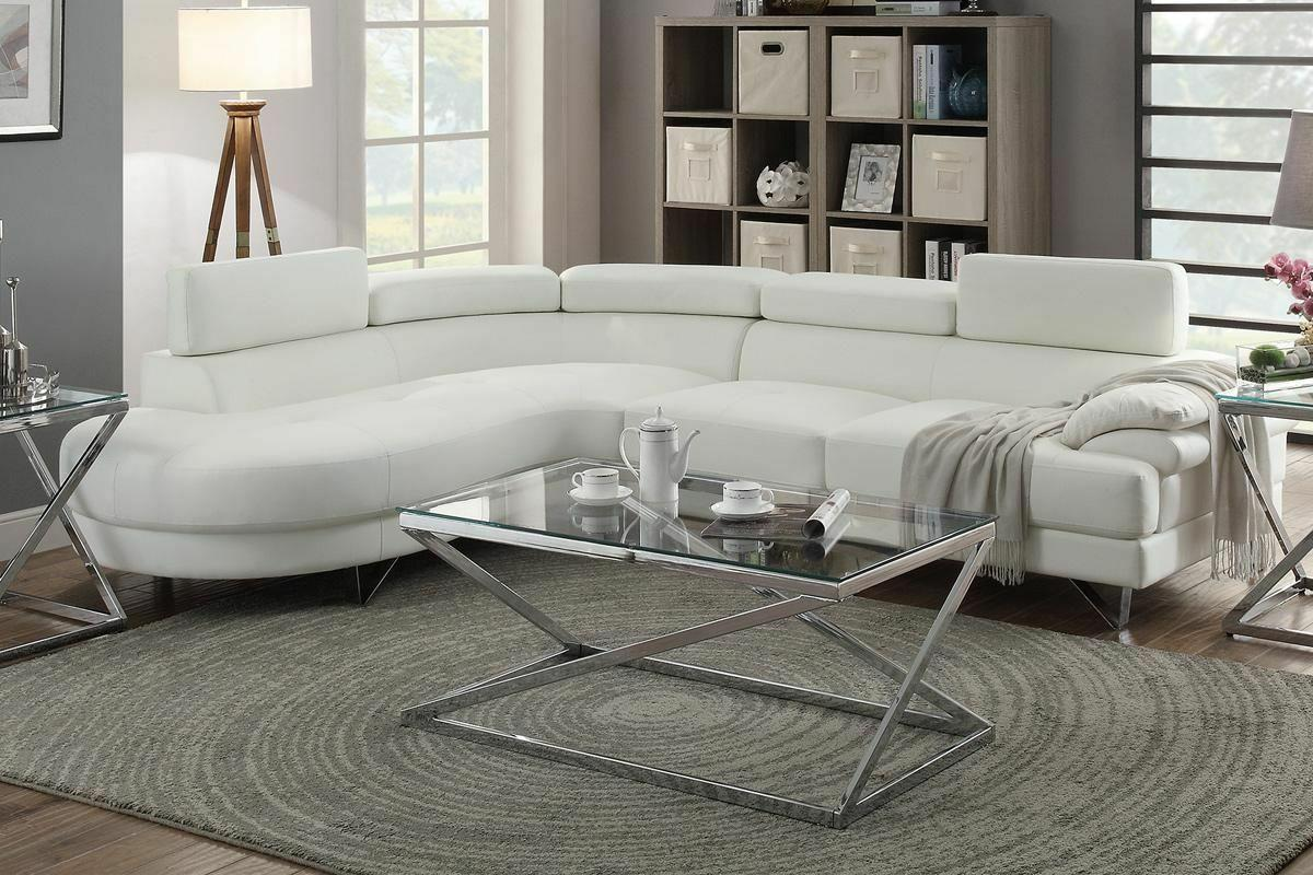 2 pcs sectional white bonded leather sofa